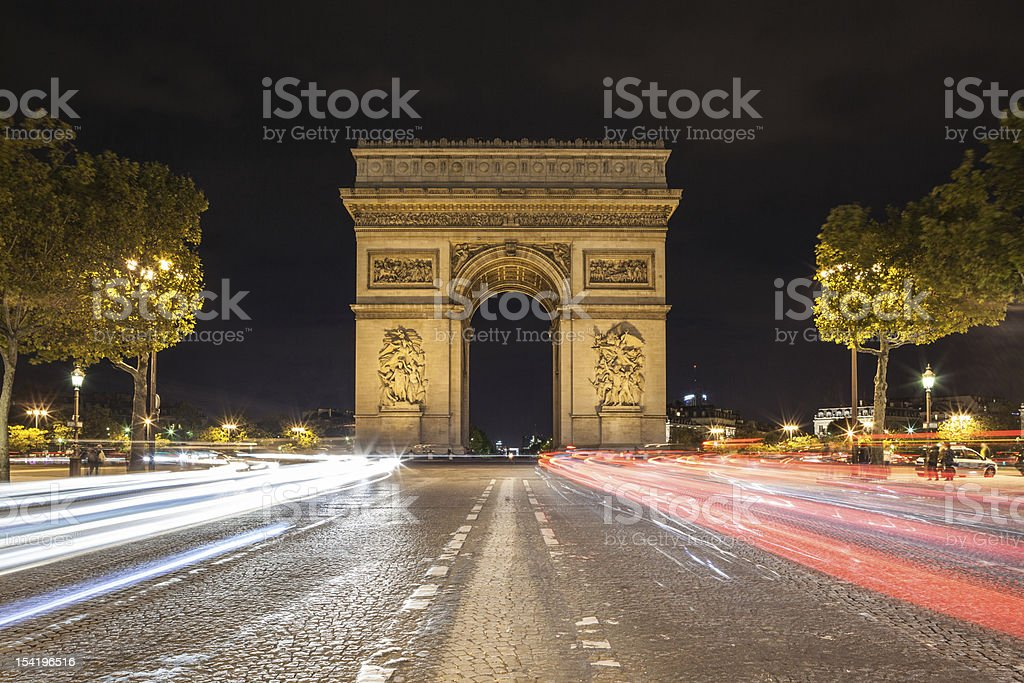 Arch de Triomphe and Champs-Elysees stock photo