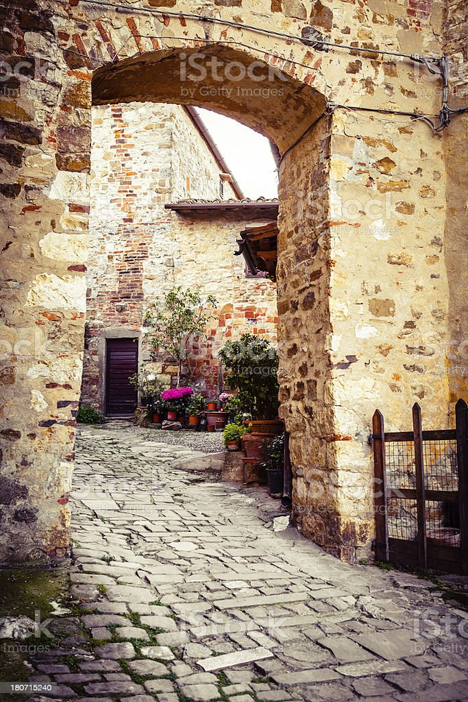 Arch Entrance, Ancient Tuscan Village in Italy royalty-free stock photo