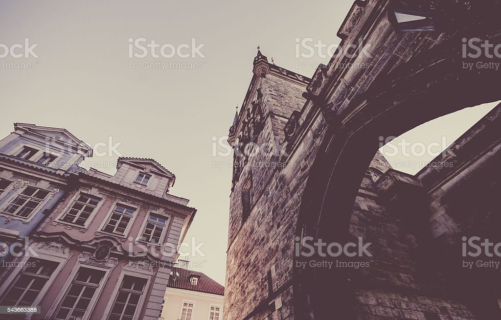 Arch Entrance to Charles Bridge In Prague stock photo