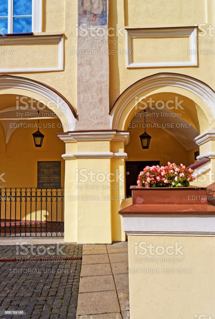 Arch gallery at Grand courtyard in Vilnius University stock photo