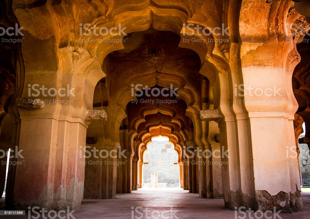 arch in Lotus Mahal in Hampi, India stock photo