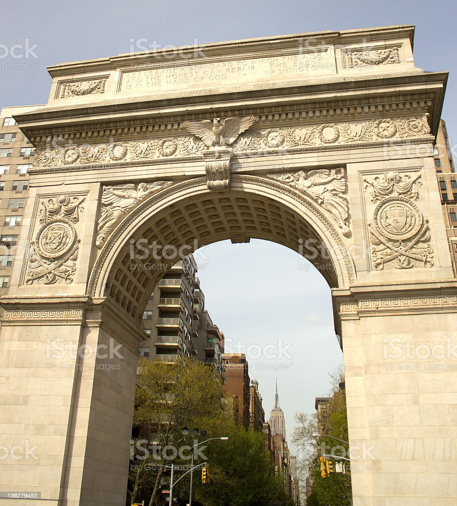 Arch in Washington Square Park stock photo