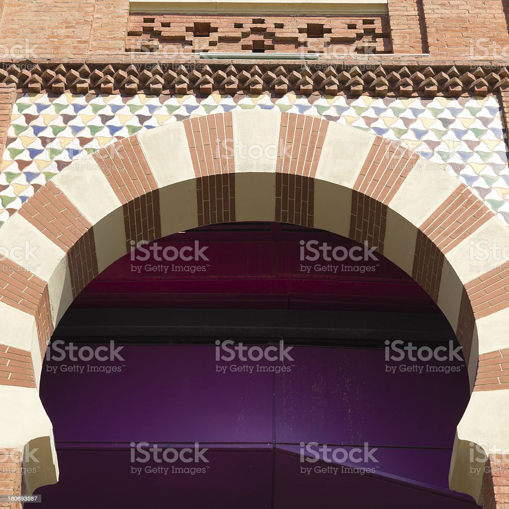 Arch neo-Mudejar style royalty-free stock photo