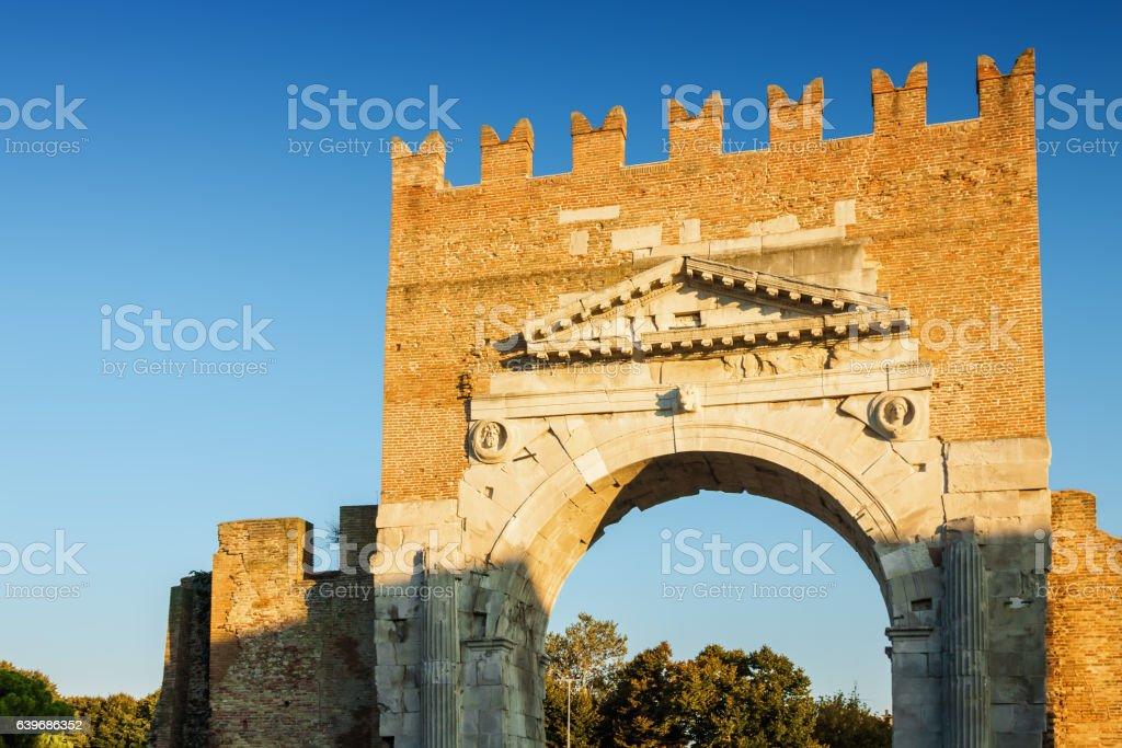 Arch of Augustus in Rimini, Emilia-Romagna region, Italy. stock photo