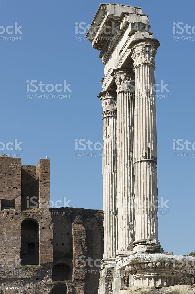 Arch of Augustus triumphal arch in the Roman Forum, Rome stock photo