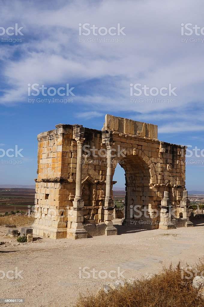 Arch of Caracalla in Volubilis stock photo
