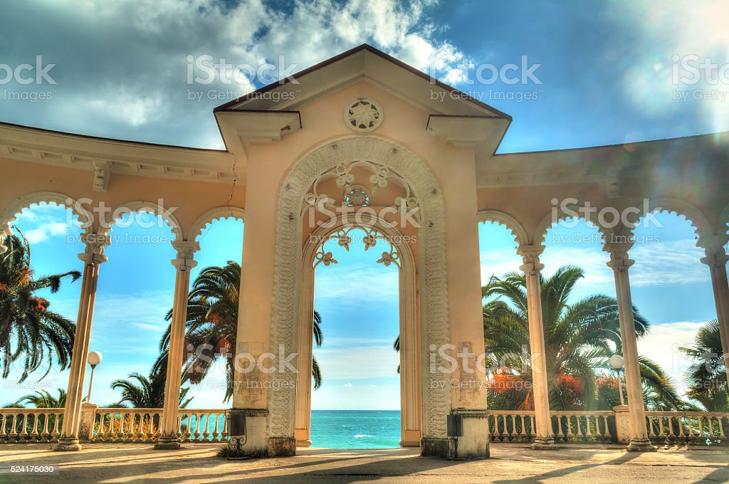 Arch of Colonnade in Gagra, Abkhazia, HDR stock photo