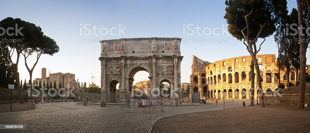 Arch of Constantine and Colosseum panorama stock photo