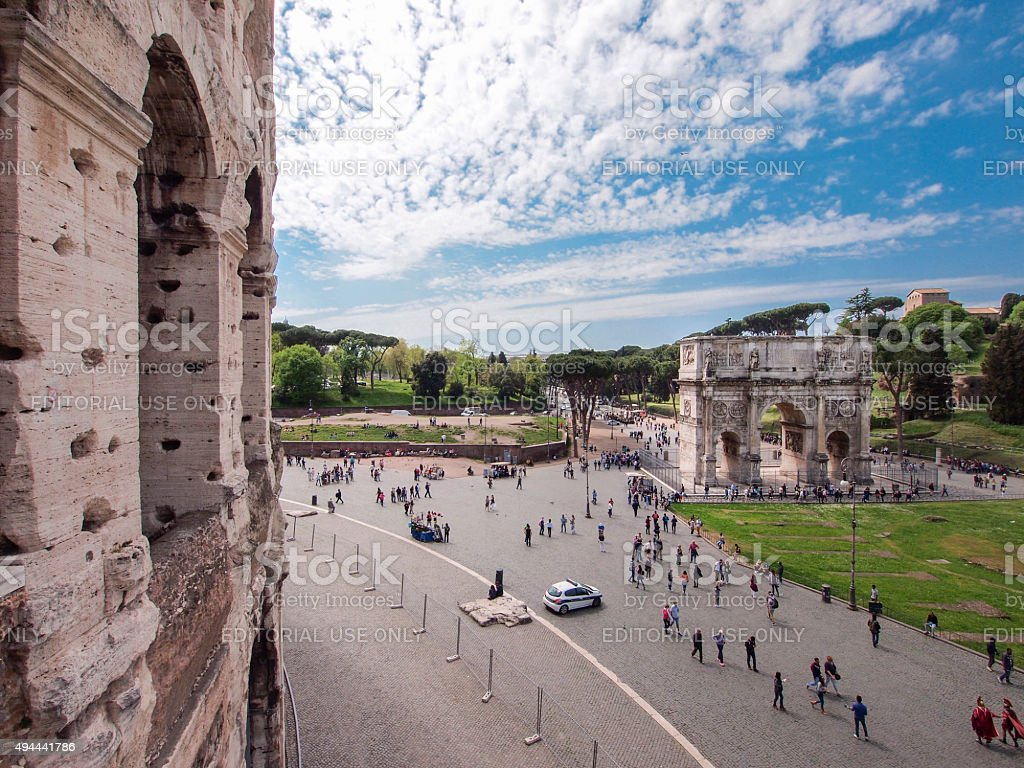 Arch of Constantine and Colosseum, Rome stock photo