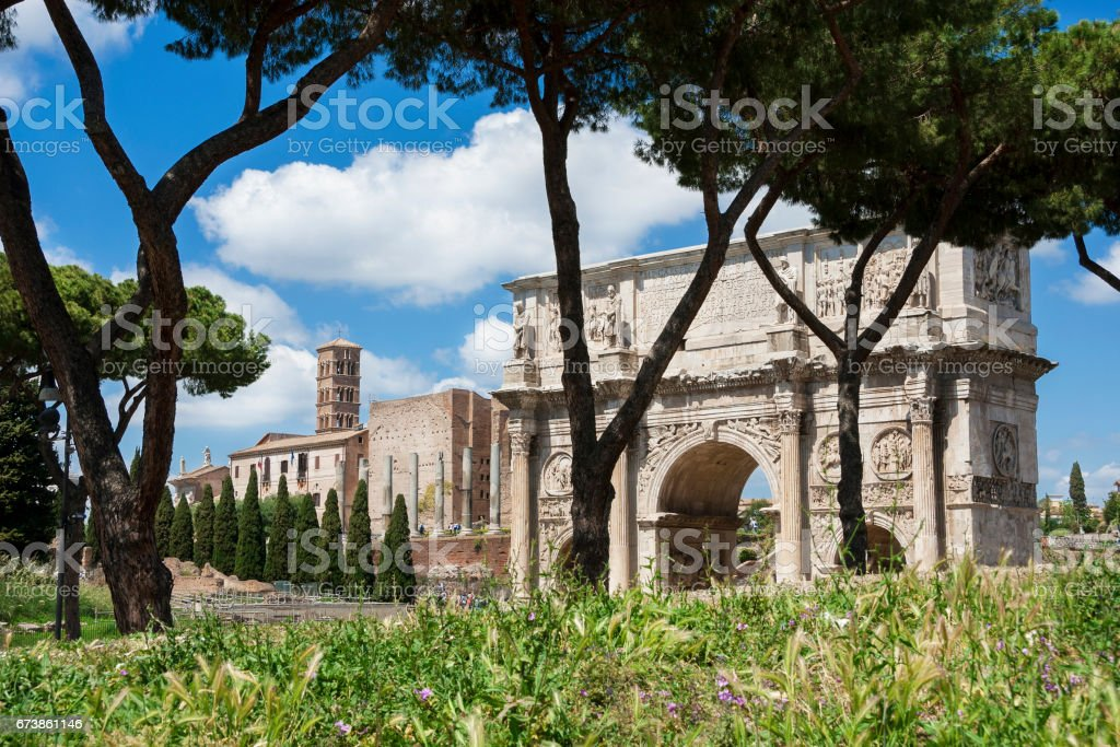Arch of Constantine in the central archaeological area of Rome stock photo