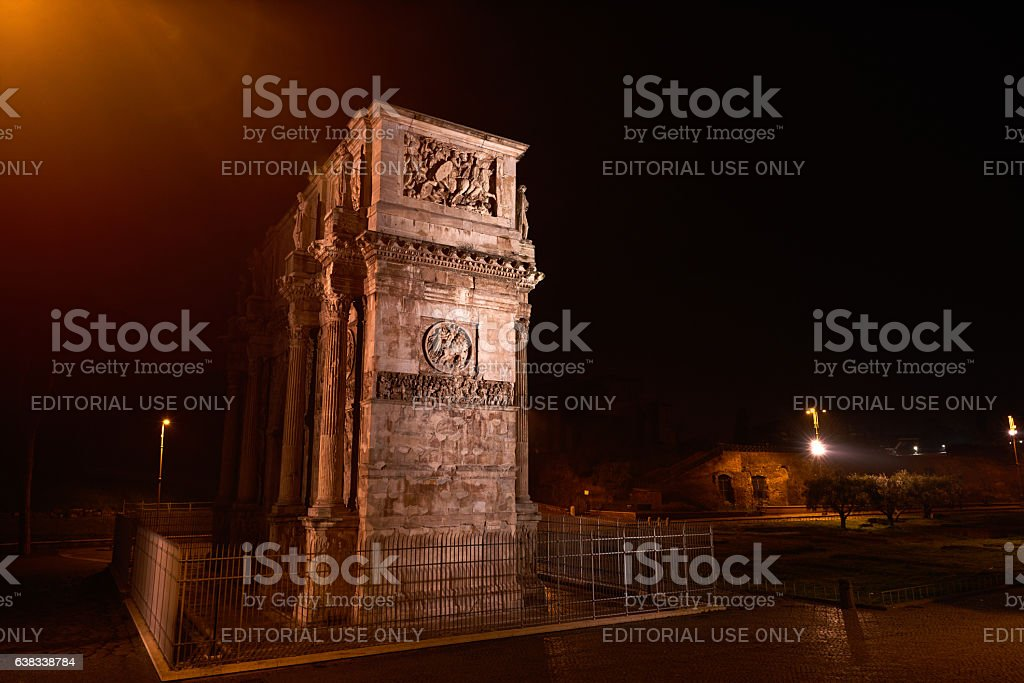 Arch of Constantine near the Colosseum in Rome stock photo