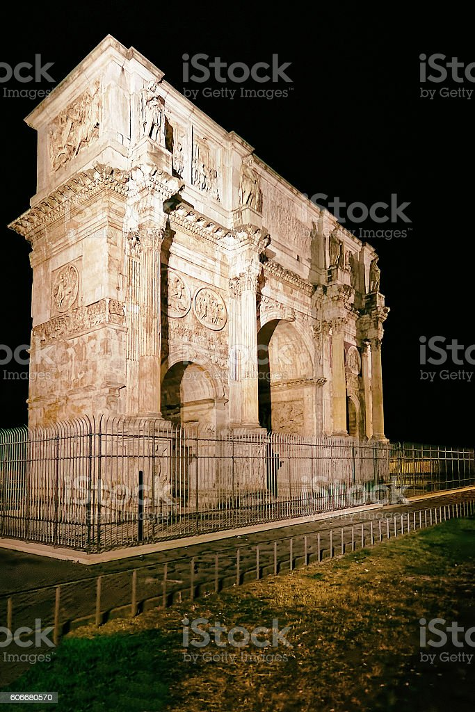 Arch of Constantine Roman Forum in Rome in Italy stock photo