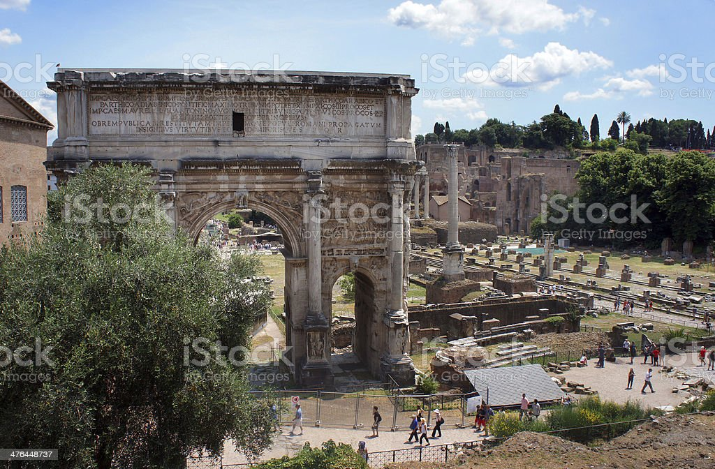 Arch of Emperor Septimius Severus and Roman Forum, Rome, Italy royalty-free stock photo