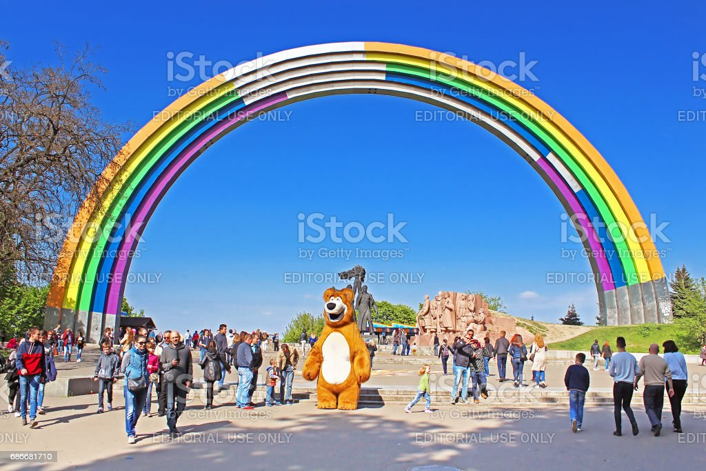 Arch of Friendship of peoples, painted in colors of the rainbow, in preparation for the song contest Eurovision-2017 stock photo