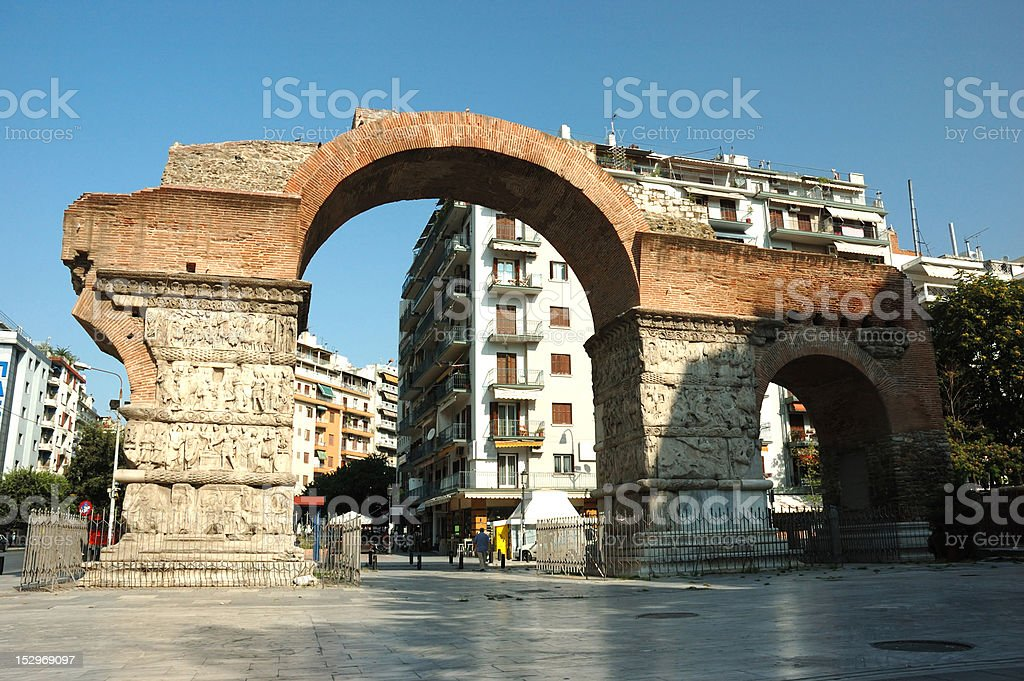 Arch of Galerius in Thessaloniki, Greece, unesco heritage site royalty-free stock photo