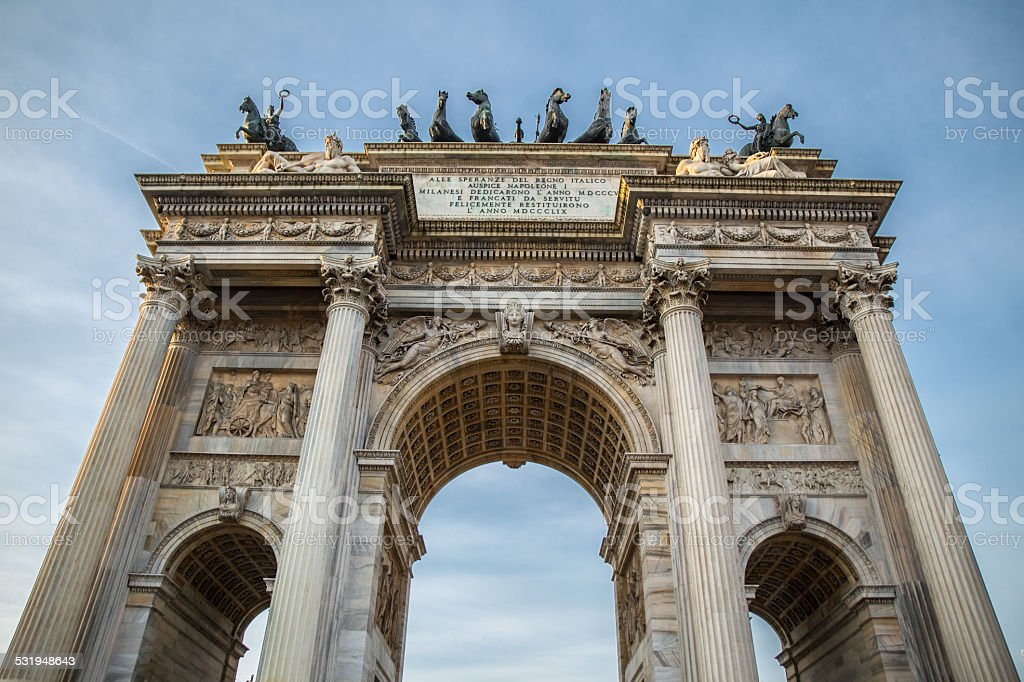 Arch of Peace in Sempione Park, Milan, Lombardy, Italy stock photo