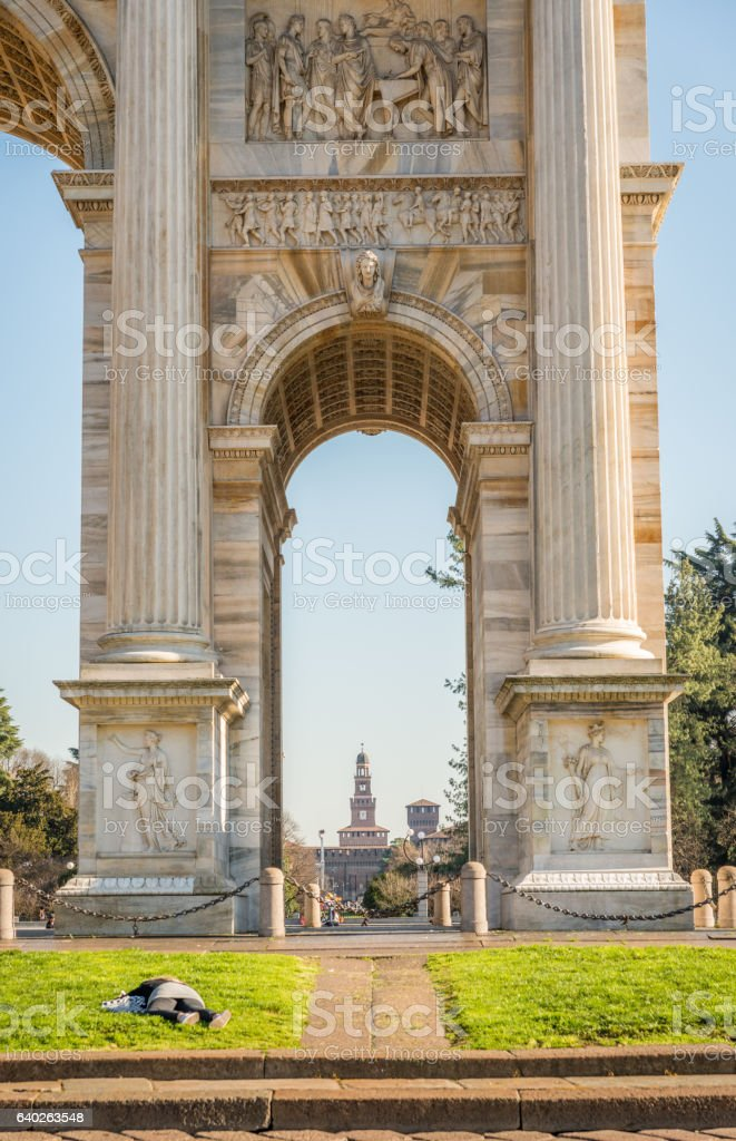 Arch of Peace, Milan, Lombardy, Italy stock photo