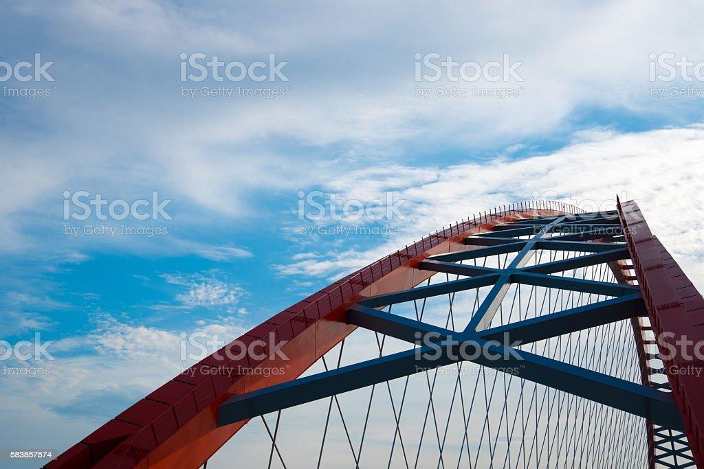 arch of red bridge stock photo