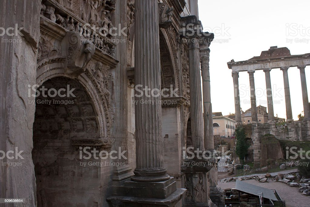 Arch of Septimius Severus and temple of Saturn stock photo
