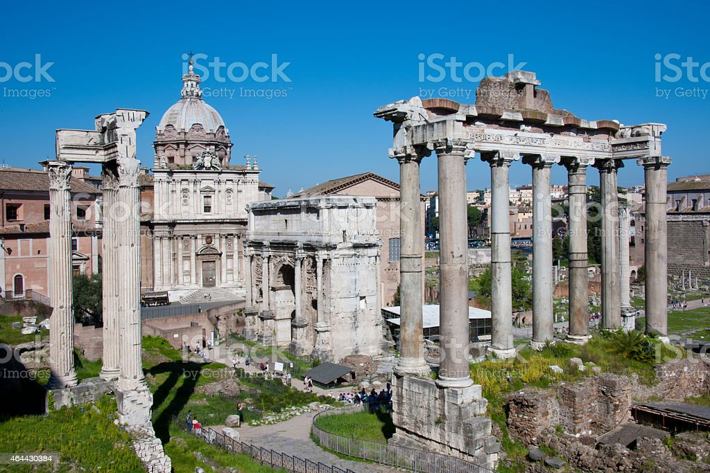 Arch of Septimius Severus (Arco di Settimio Severo) (Rome, Italy) stock photo