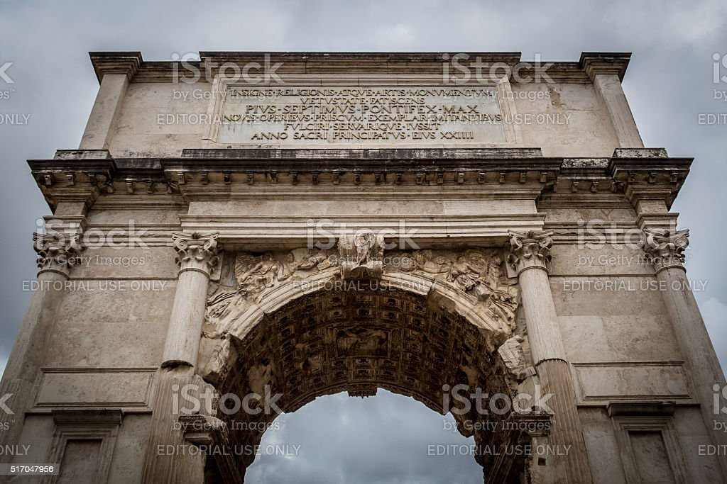 Arch of Septimius Severus.  Scenes from Rome at Easter stock photo
