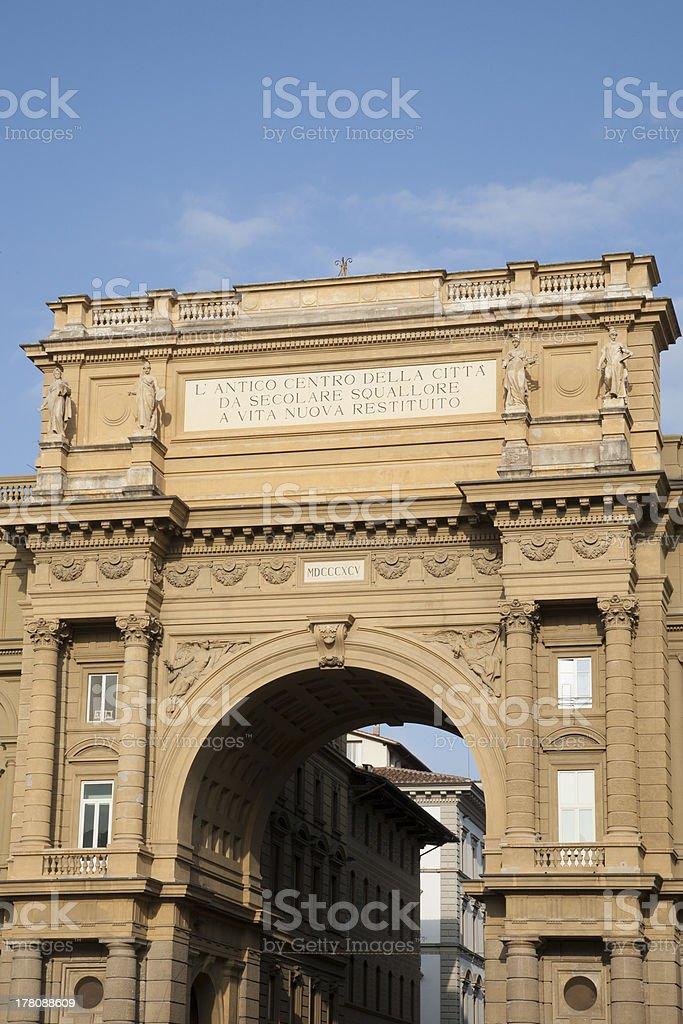 Arch of the Piazza della Republica, Florence stock photo