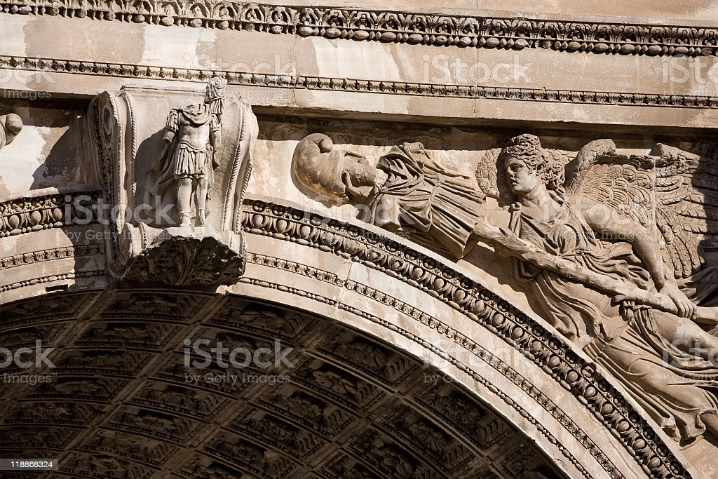 Arch of Titus in Roman Forum stock photo