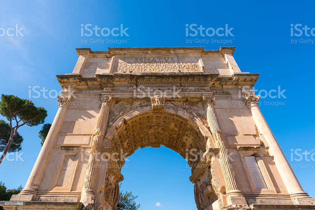 Arch of Titus in Rome, Italy stock photo
