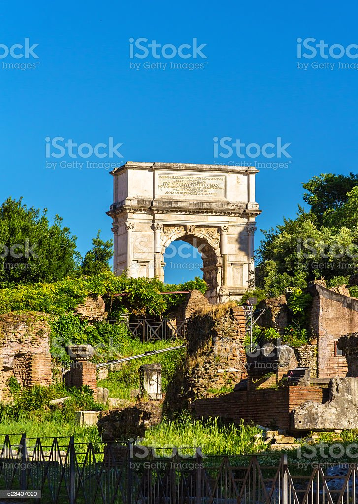 Arch of Titus in the Roman Forum, Italy stock photo