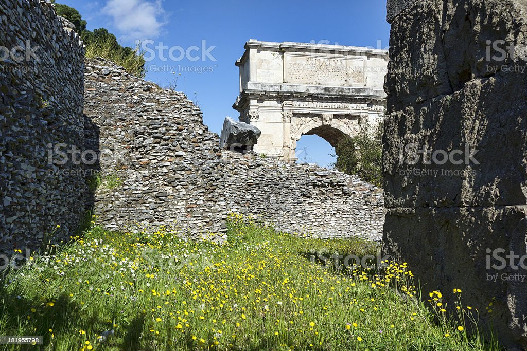 Arch of Titus in unusual angle, with copy space royalty-free stock photo