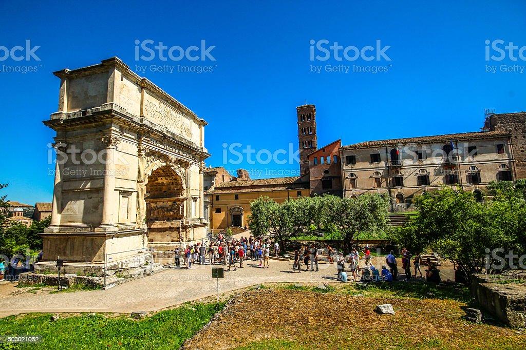 Arch of Titus on Palentino hill, Roman forum in Rome stock photo