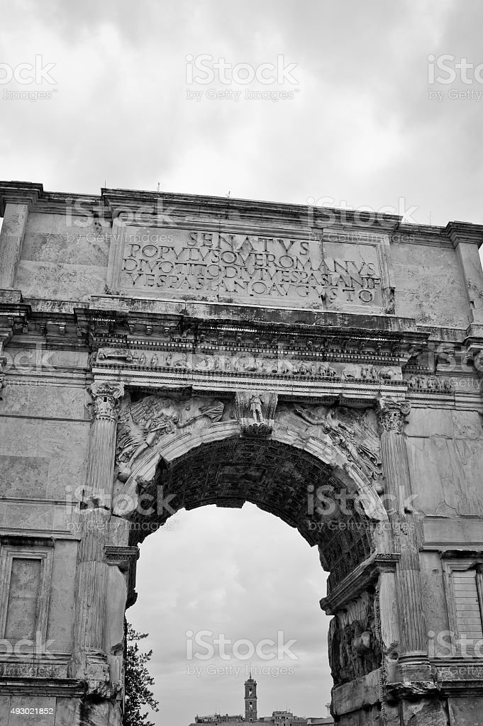 Arch of Titus, the ruins of Roman forum, Rome, Italy stock photo