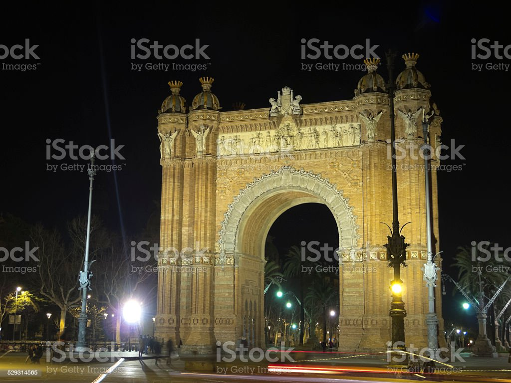 Arch of Triumph by night stock photo