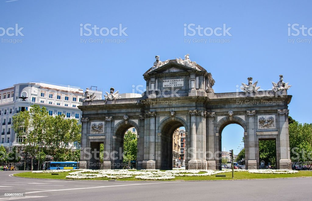 Arch of Triumph - Gate of Alcala, Madrid, Spain stock photo