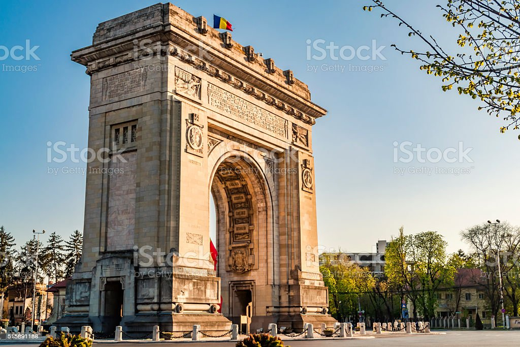 Arch of Triumph in Bucharest, Romania stock photo