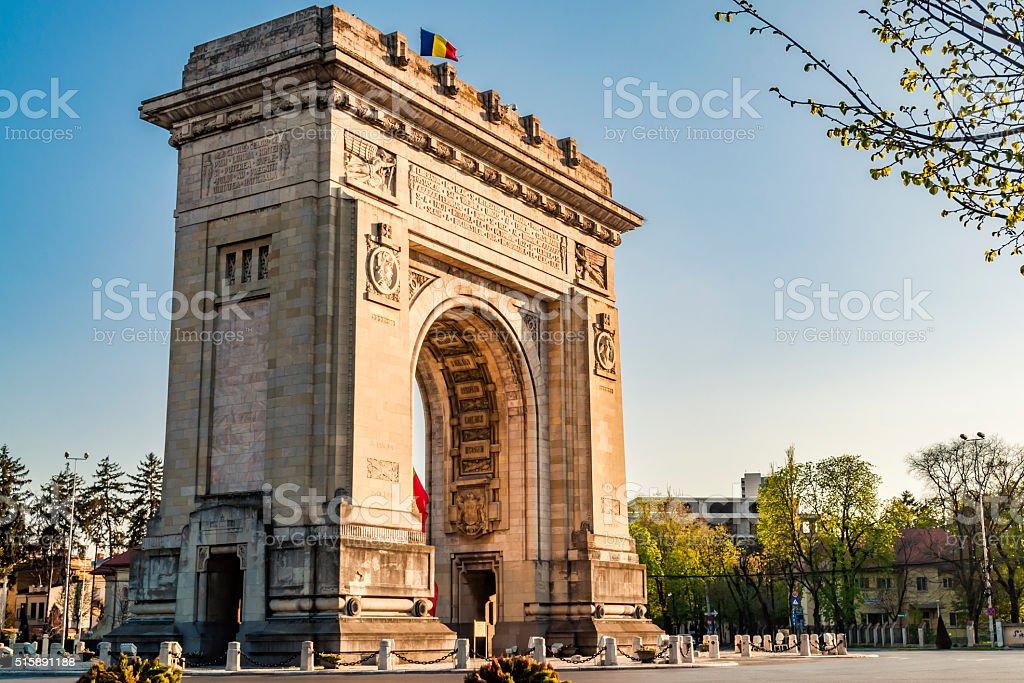 Arch of Triumph in Bucharest, Romania stock photo