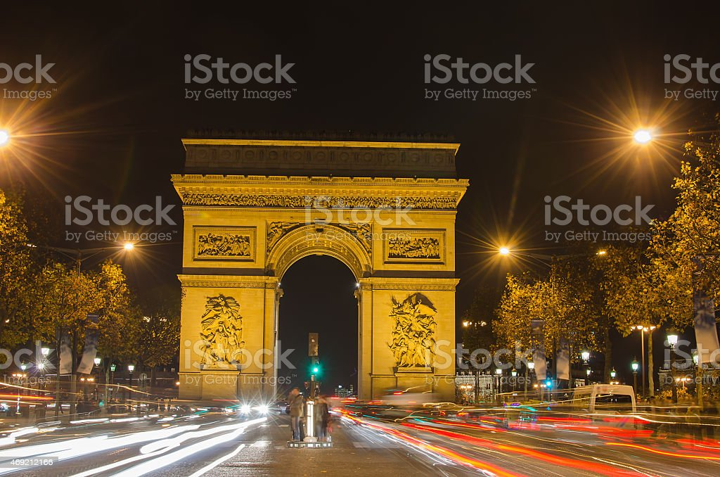 Arch of Triumph of the Star in Paris (France) stock photo