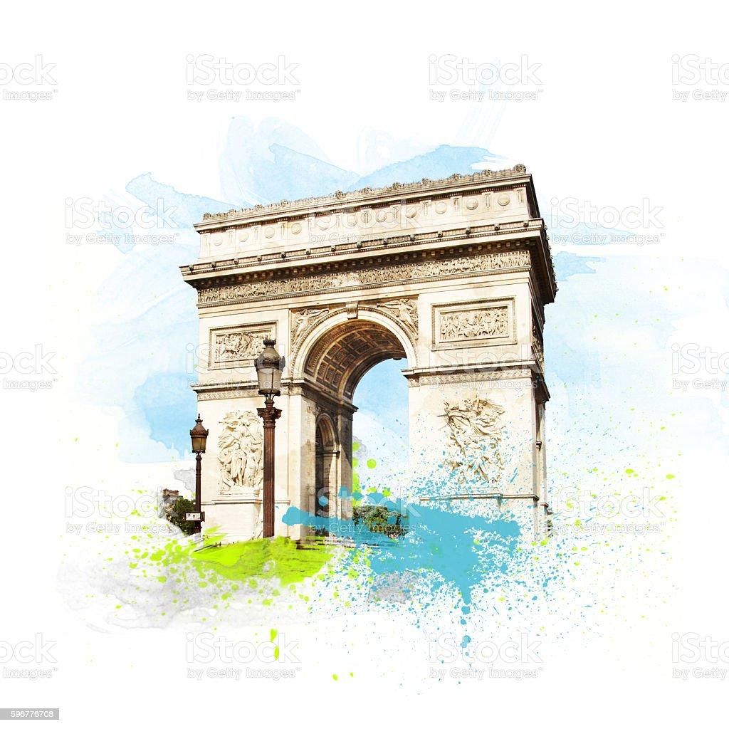 Arch of Triumph (Arc de Triomphe), Paris, France. stock photo