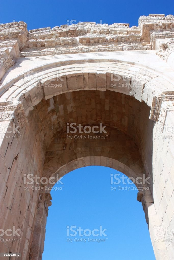 Arch of Triumphal Arch in Jerash in Jordan stock photo