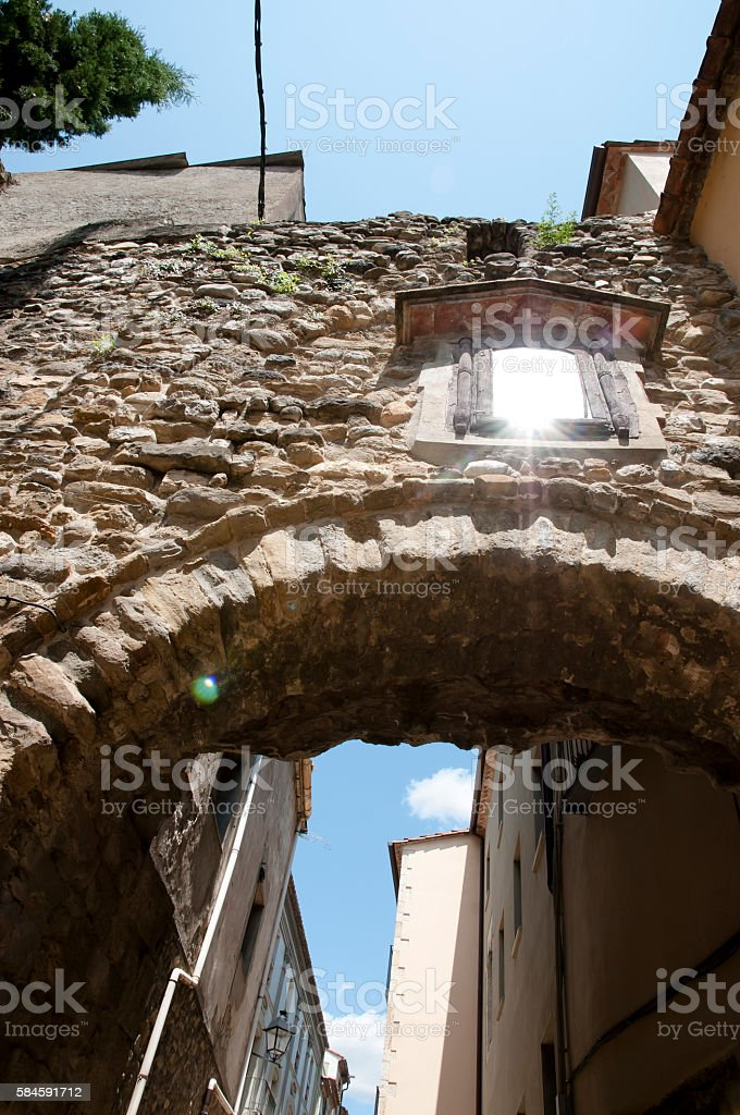 Arch Passage - Besalu - Spain stock photo