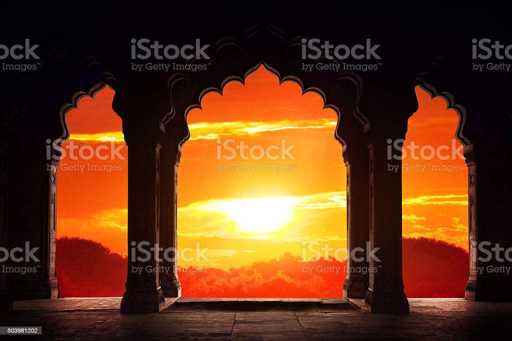 Arch silhouette at sunset stock photo