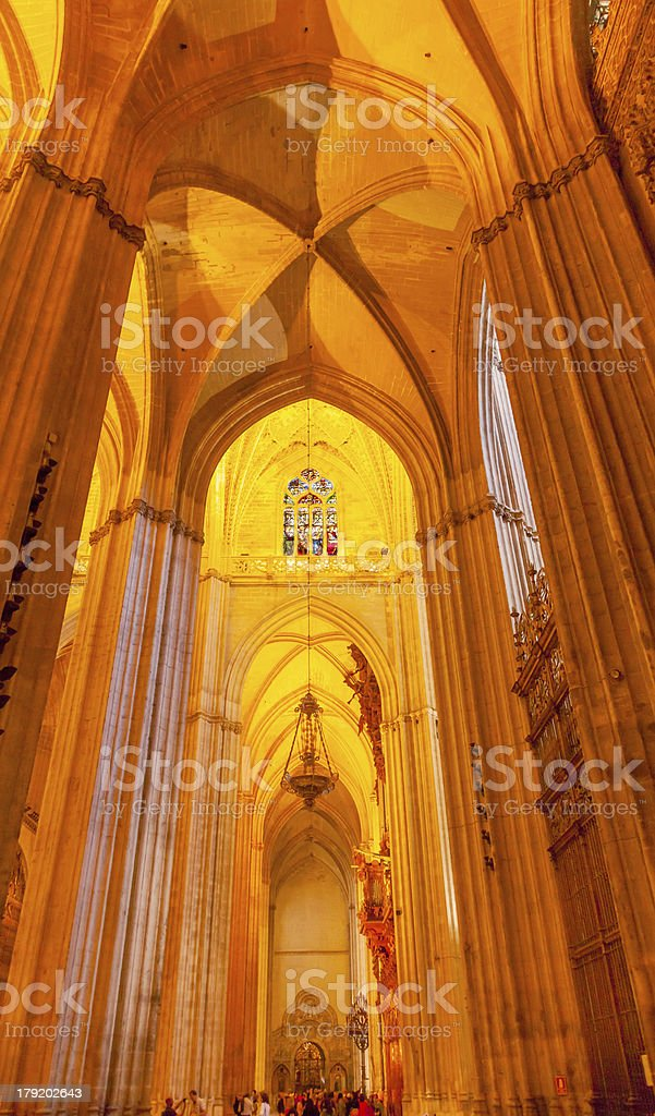 Arch Stained Glass Statues Parisioners Seville Cathedral Spain royalty-free stock photo