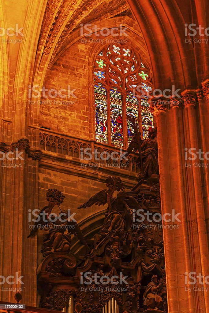 Arch Stained Glass Statues Seville Cathedral Spain royalty-free stock photo
