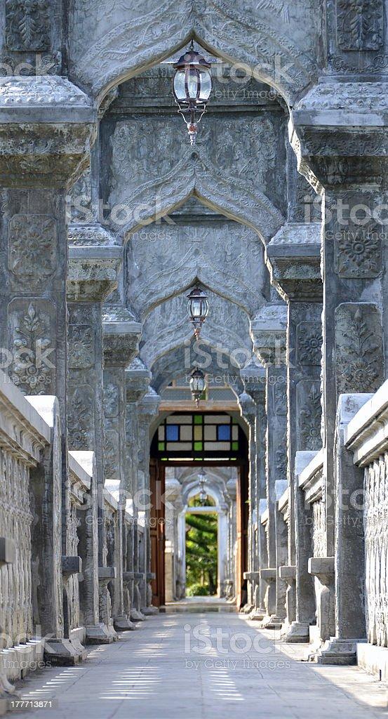 Arch Walkway in Tirtagangga Taman Ujung Water Palace stock photo