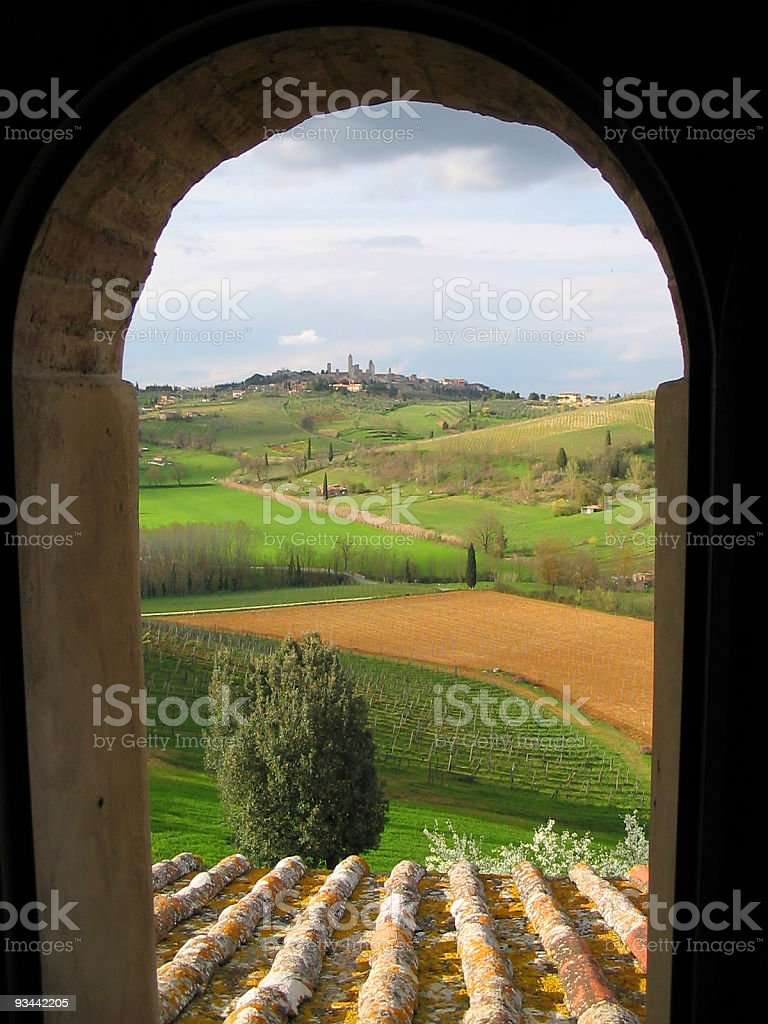 Arch Window Tuscany Landscape Agriculture Scenics Nobody stock photo