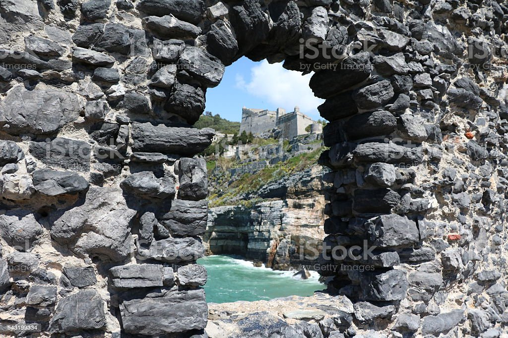 Arch window view in Porto Venere, Italy stock photo