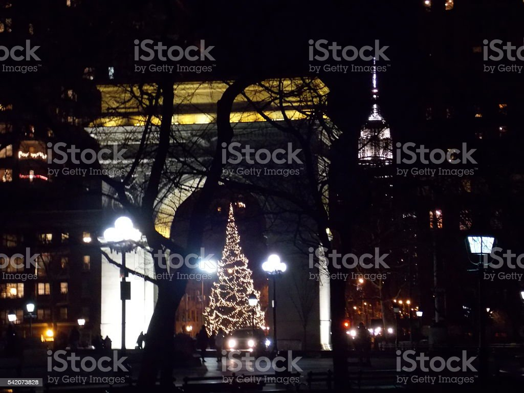 Arch with Christmas Tree and Empire State Building stock photo