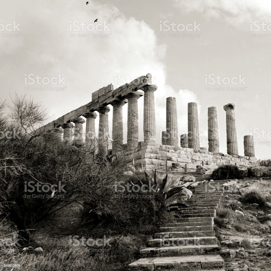 Archaelogical site Valley of Temples Temple of Juno Sicily Agrigento stock photo