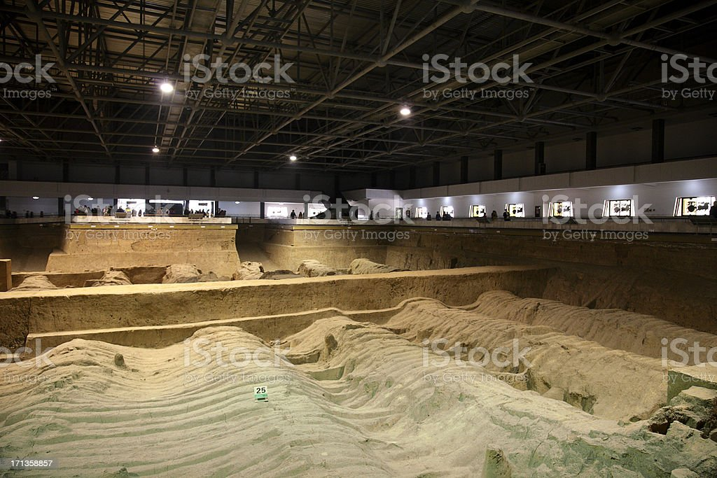 Archaeological Excavation Pit stock photo