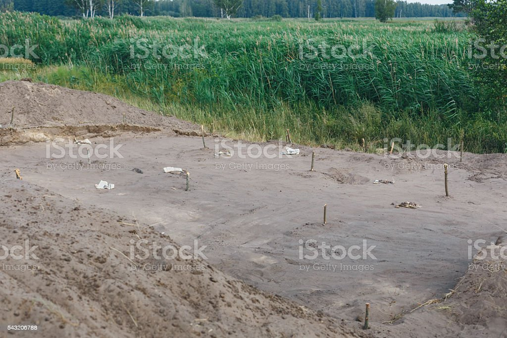archaeological excavations of settlements seven thousand years ago stock photo